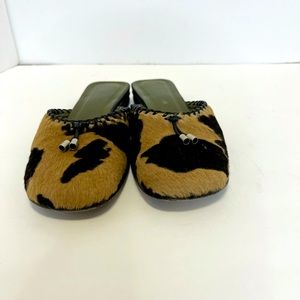 Ann Taylor Cowhide mules with tassels size 6 M